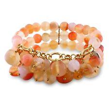 Amour Brass Agate and Multi-colored Quartz 3-row Stretch Bracelet