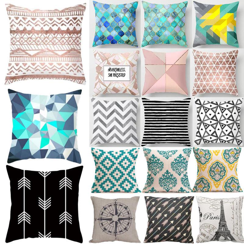 Geometric Sofa Cushion Cover Pillowcase Waist Throw Pillow C