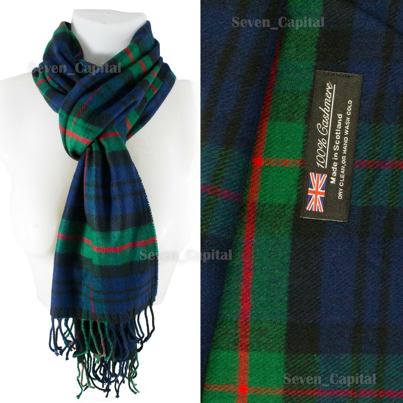 Mens Womens Winter Warm SCOTLAND Made 100% CASHMERE Scarf Scarves Plaid Wool 34. Plaid: Navy/Green