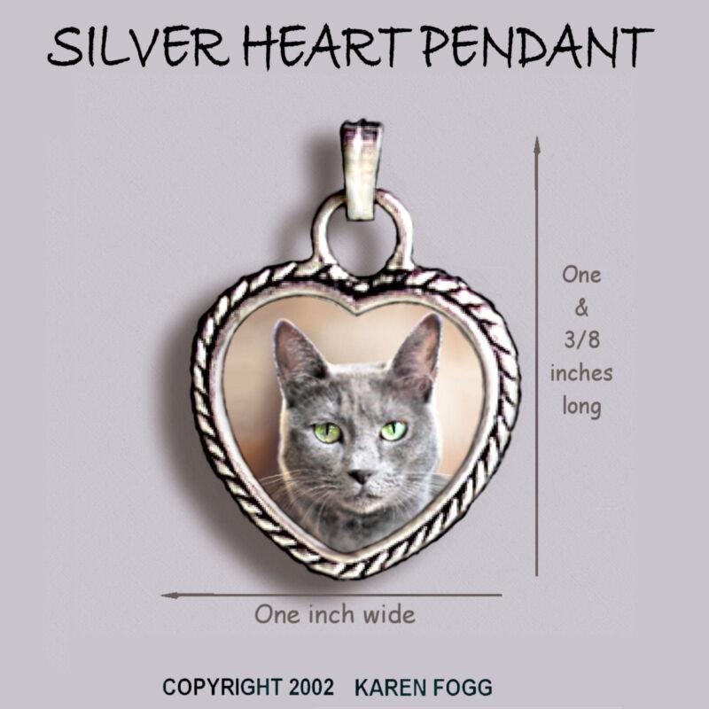 RUSSIAN BLUE Cat - Ornate HEART PENDANT Tibetan Silver