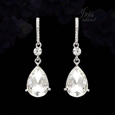 Clear Crystal Rhinestone Wedding Drop Dangle Earrings Bridesmaids 05194 Silver