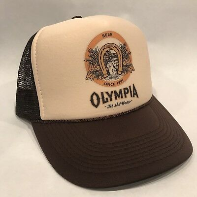 Olympia Beer Trucker Hat Old Brewery Logo Vintage Style Snapback Cap Brown / Tan