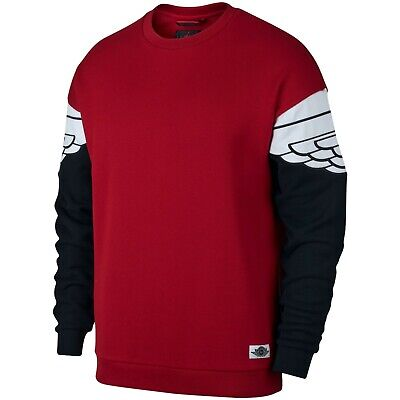 Nike Men's Air Jordan WINGS CLASSICS Crew Sweatshirts Red/Black AO0426-687 d Air Wing Crew Sweatshirt