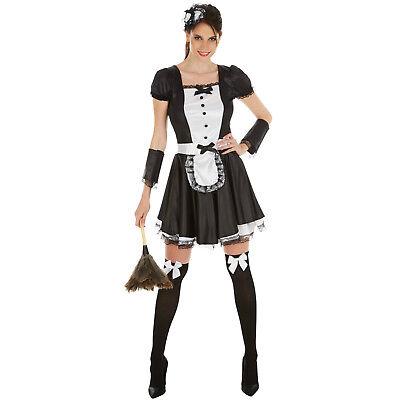 Sexy Dienstmädchen Hausmädchen Kleid Kostüm Frauen Karneval Fasching (Dienstmädchen Kostüm Halloween)