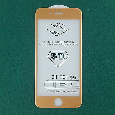 Protector Cristal Templado Completo 3D 4D Oro Curvo para iPhone 6 6S...