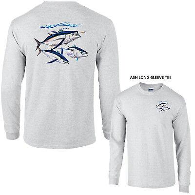 ALBACORE TUNA Fishing  Hawaii Saltwater Yellowfin Yellowtail Fish LONG SLEEVE -