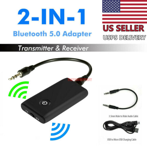 Bluetooth 5.0 Transmitter Receiver 2 IN 1 Wireless Audio 3.5mm Jack Aux Adapter