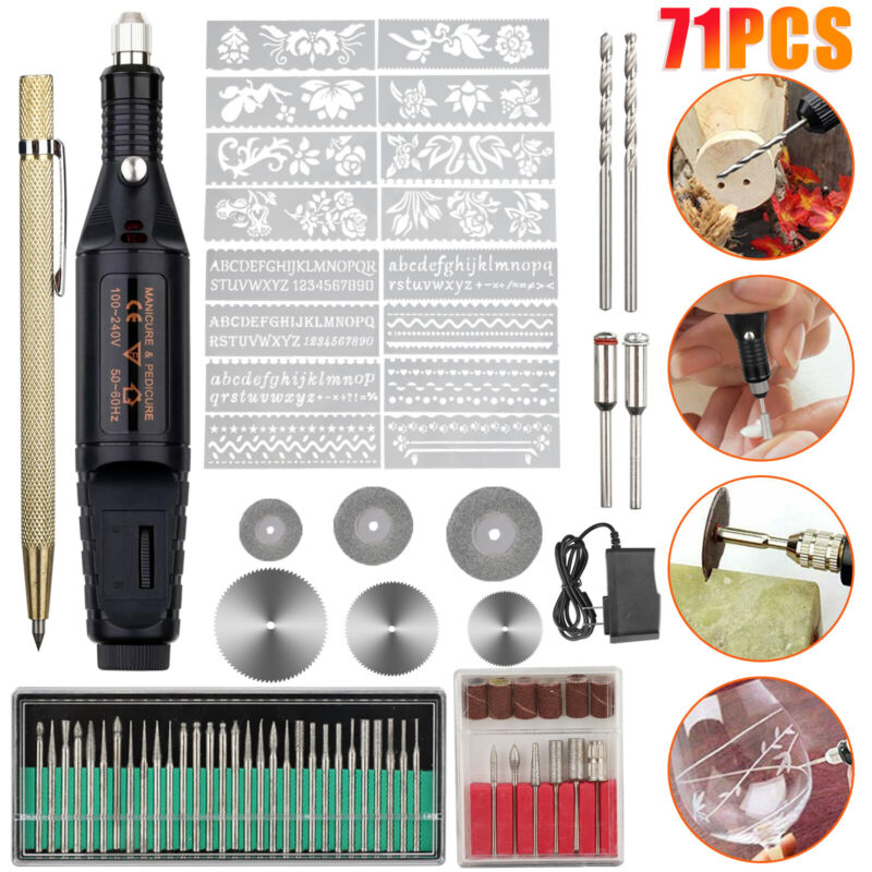 71Pc Micro Electric Engraver Pen Engraving Tool Kit Mini DIY Metal Glass Ceramic