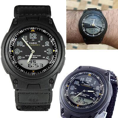 Casio Sports Mens Gents Analogue & Digital Dual World Time Watch Black