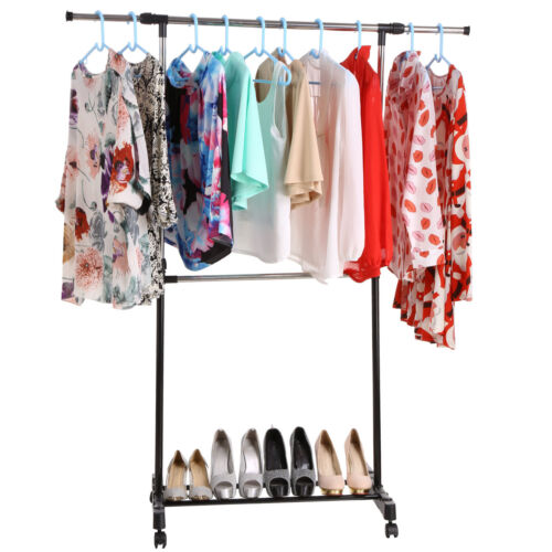 Portable Rolling Clothes Rack Single Hanging Garment Bar Hea