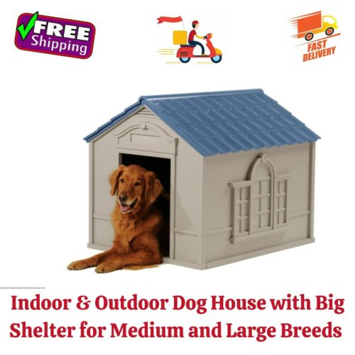 Indoor & Outdoor Dog House with Big Shelter for Medium and Large Breeds, 100 Lbs