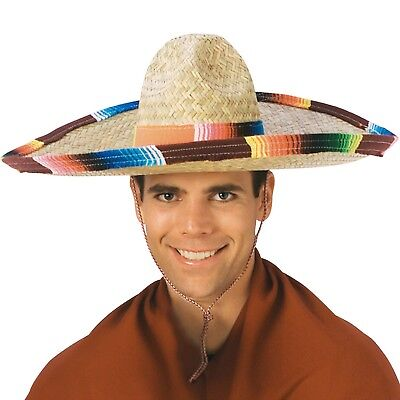 Big Sombrero Hat (Adult Sombrero Hat With Serape Band Straw Big Mexico Party Siesta Mexican)