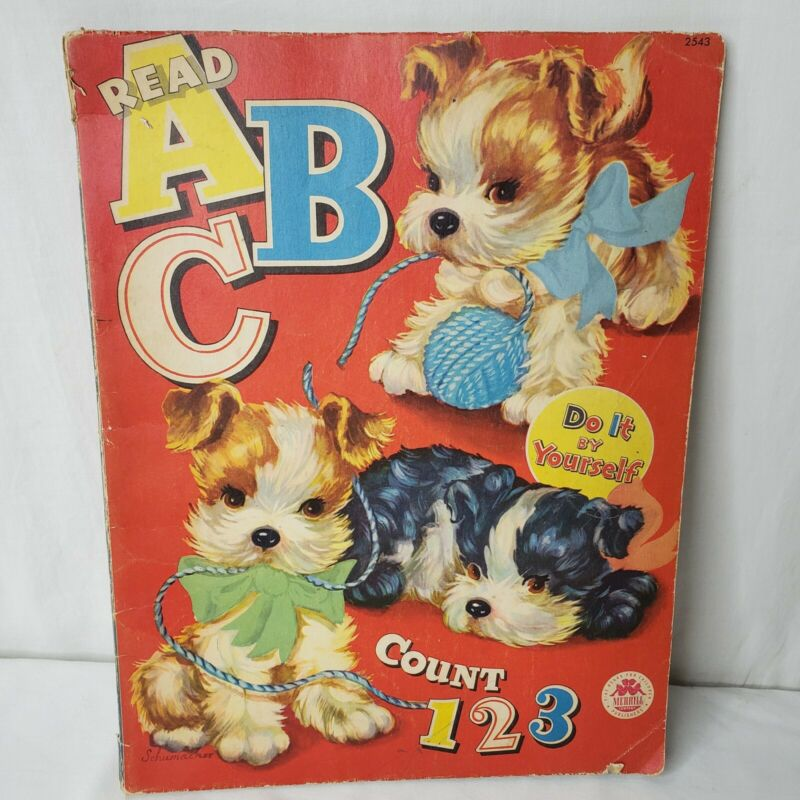 Vintage 40s ABC Coloring Book Dogs Cats Nursery Decor Used Merrill Co Chicago