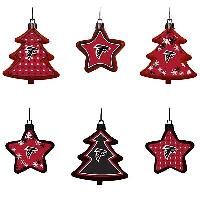 Atlanta Falcons Shatterproof TREES & STARS Christmas Tree Ornaments Set 6 pack ()