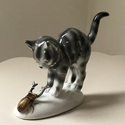 Vintage Graefenthal Germany Kitten Cat With Beetle Porcelain Figurine 4""