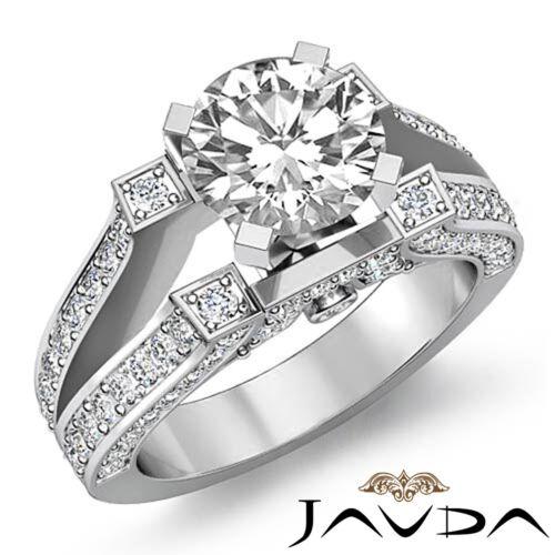 Split Shank Round Diamond Engagement Pave Ring GIA F VS1 14k White Gold 2.21ct