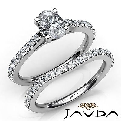 1.6ctw Sidestone Prong Set Bridal Oval Diamond Engagement Ring GIA G-SI1 W Gold
