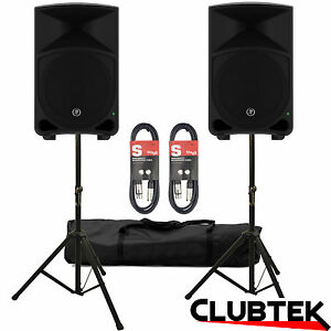 2 x Mackie Thump TH12 2000W Active Powered Speakers + FREE Stands Bag Leads UK