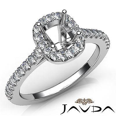 Cushion Diamond Semi Mount Engagement 18k White Gold Prong Setting Ring 0.35Ct