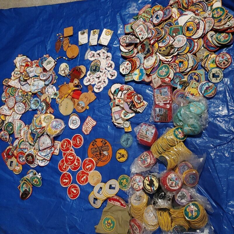 HUGE LOT Approx 13 lbs Vintage Boy Scout etc Patch etc Collection many same