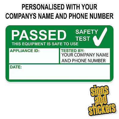 Personalized Stickers Cheap (1000 PERSONALISED PAT Test Pass stickers label passed, not cheap paper ones)