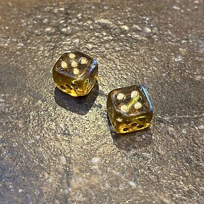 Antique Glass miniature Pair of Dice Amber Square Czech glass charms