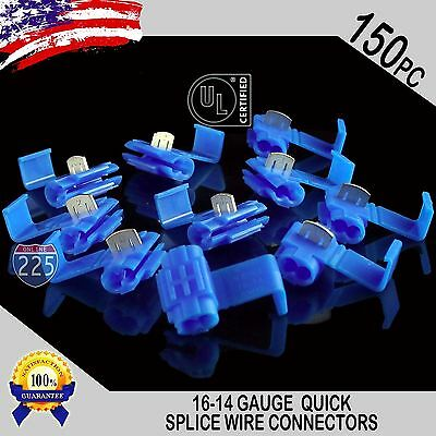 150 Pack 16-14 Gauge Blue Quick Splice Tap Wire Connectors Install Terminals Ul