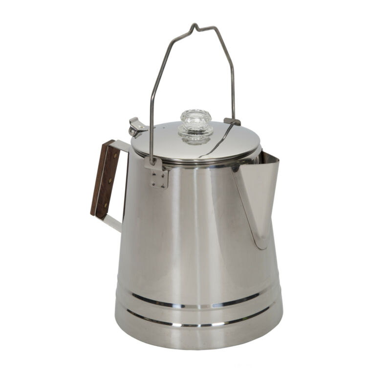 STANSPORT 18 CUP PERCOLATOR COFFEE POT STAINLESS STEEL CAMPING OUTDOOR STOVETOP