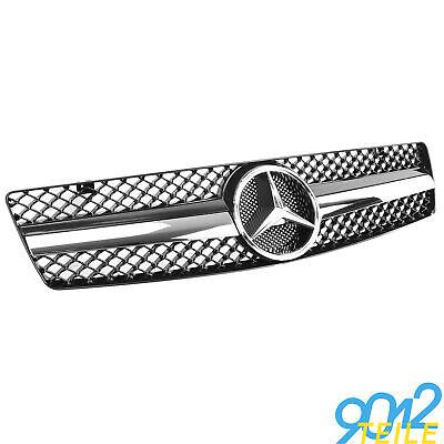 für Mercedes AMG LOOK Grill SL R129 W129 CHROM SCHWARZ Kühlergrill Frontgrill