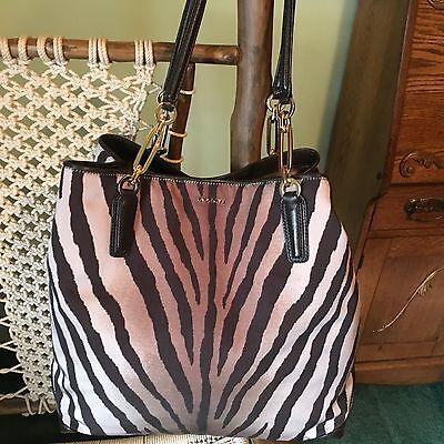 Zebra Animal Print Tote - Coach Madison Zebra Animal Print North/South Tote Bag Purse