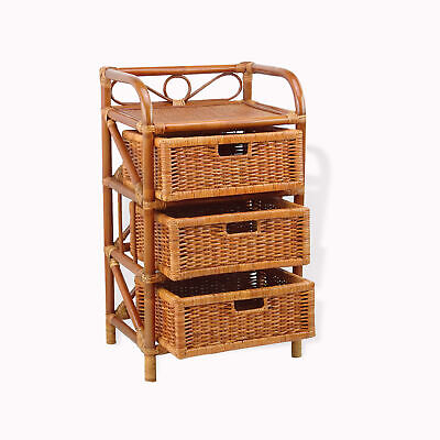 Laundry Chest w/ 3 Drawers Natural Rattan Wicker -