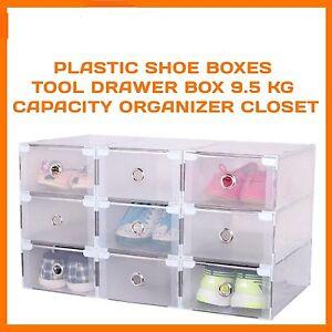 20 x STORAGE SHOE BOXES CLEAR PLASTIC DRAWER BOX WARDROBE ORGANISER HOME GARAGE