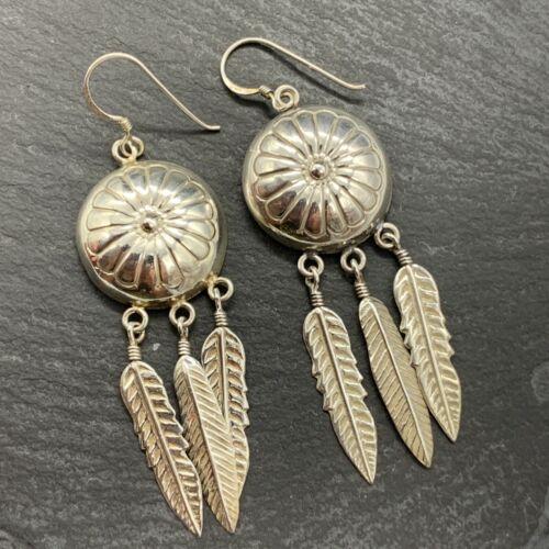 Vintage 925 Sterling Silver Drop Dangle Earrings Shields Feathers Southwestern