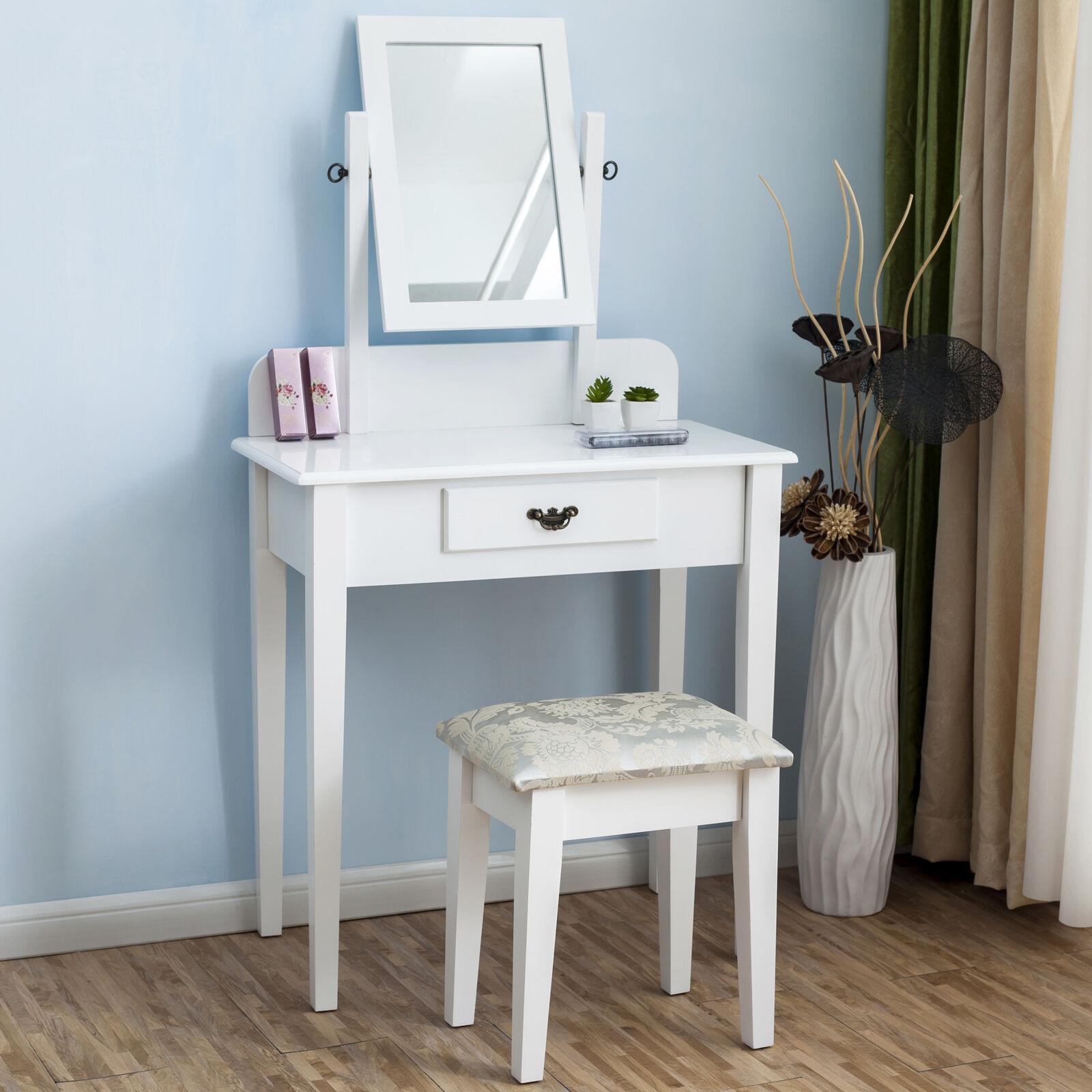 rectangle mirror dressing table makeup desk white stool