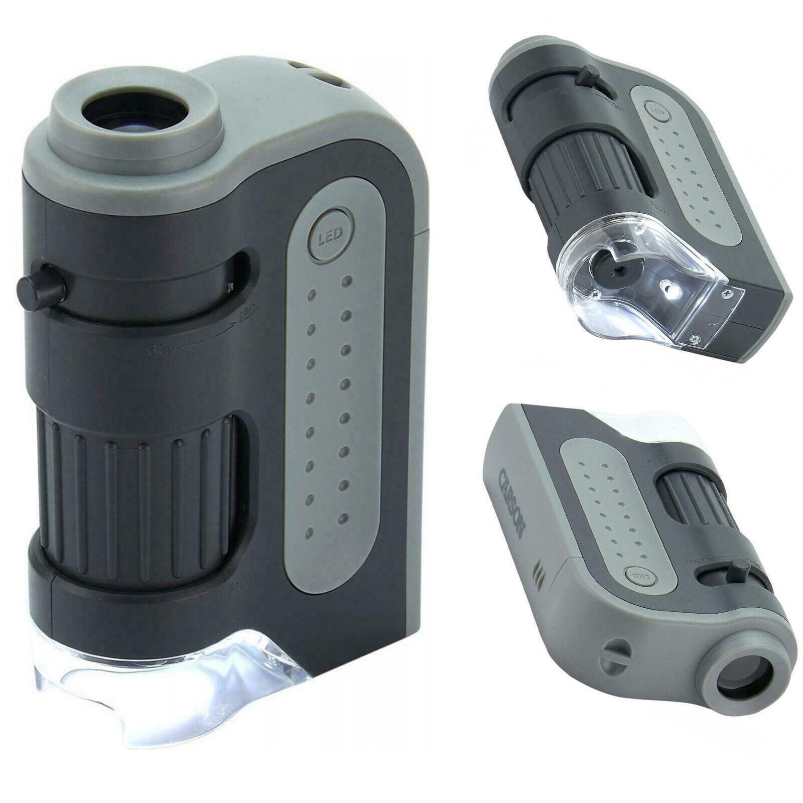 PROFI Taschenmikroskop LED 60x-120x - Taschenlupe Mini Mikroskop Juwelierlupe