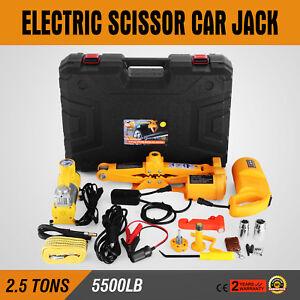 2.5 Ton Automotive Electric Scissor Car Jack Lift 12V DC Wrench 1/2