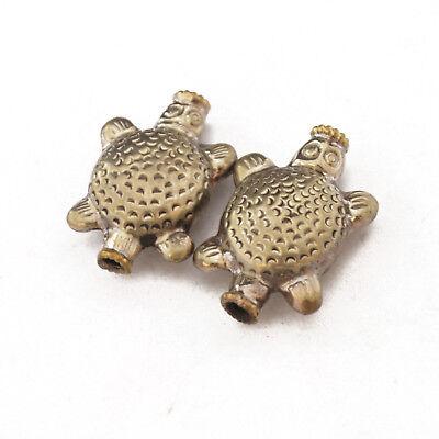 Repousse Turtle 2 Beads Tibetan Nepalese Handmade Tibet Nepal By Eksha UB2562
