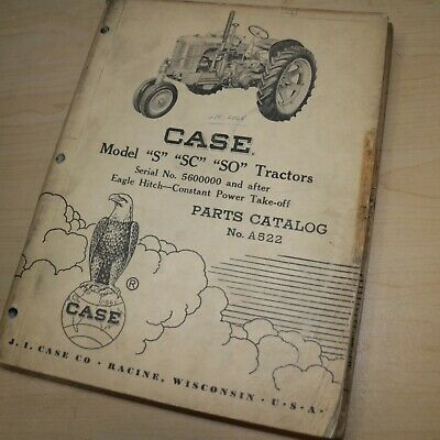 Case Model S Sc So Eagle Hitch Pto Tractor Parts Manual Book Spare List Catalog