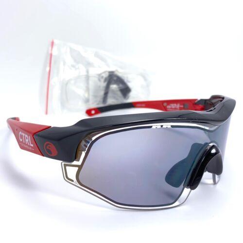 CTRL Eyewear CS02-002 Black & Red E-Tint Sunglasses Electronic Control Grey Lens