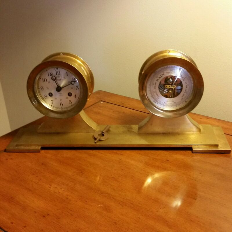 VINTAGE SALEM Presentation Machined Brass  Ships Clock And Barometer set
