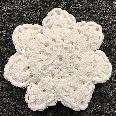 """12 Pcs 4"""" Cotton White Handmade Round Crochet Doily Doilies Coaster Snowflake"""