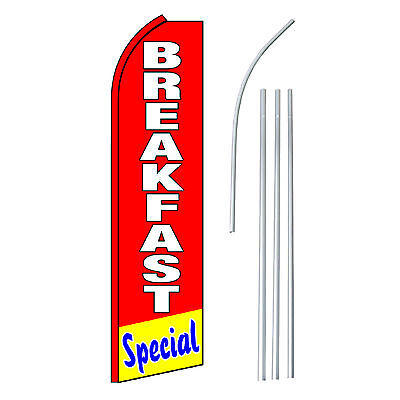 Breakfast Special Advertising Feather Flutter Swooper 2.5 Banner Flag And Pole