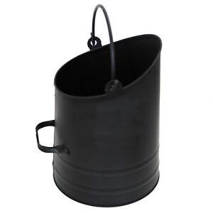 Black Metal Coal Bucket Coal Hod Scuttle Fireside Lightweight Fire Log Bucket