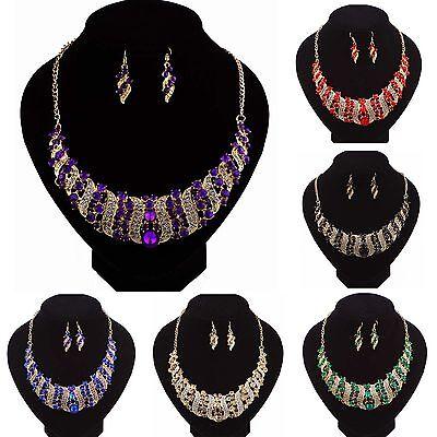 Party Bib - Fashion Charm Women Crystal Bib Choker Necklace Earrings Statement Party Jewelry