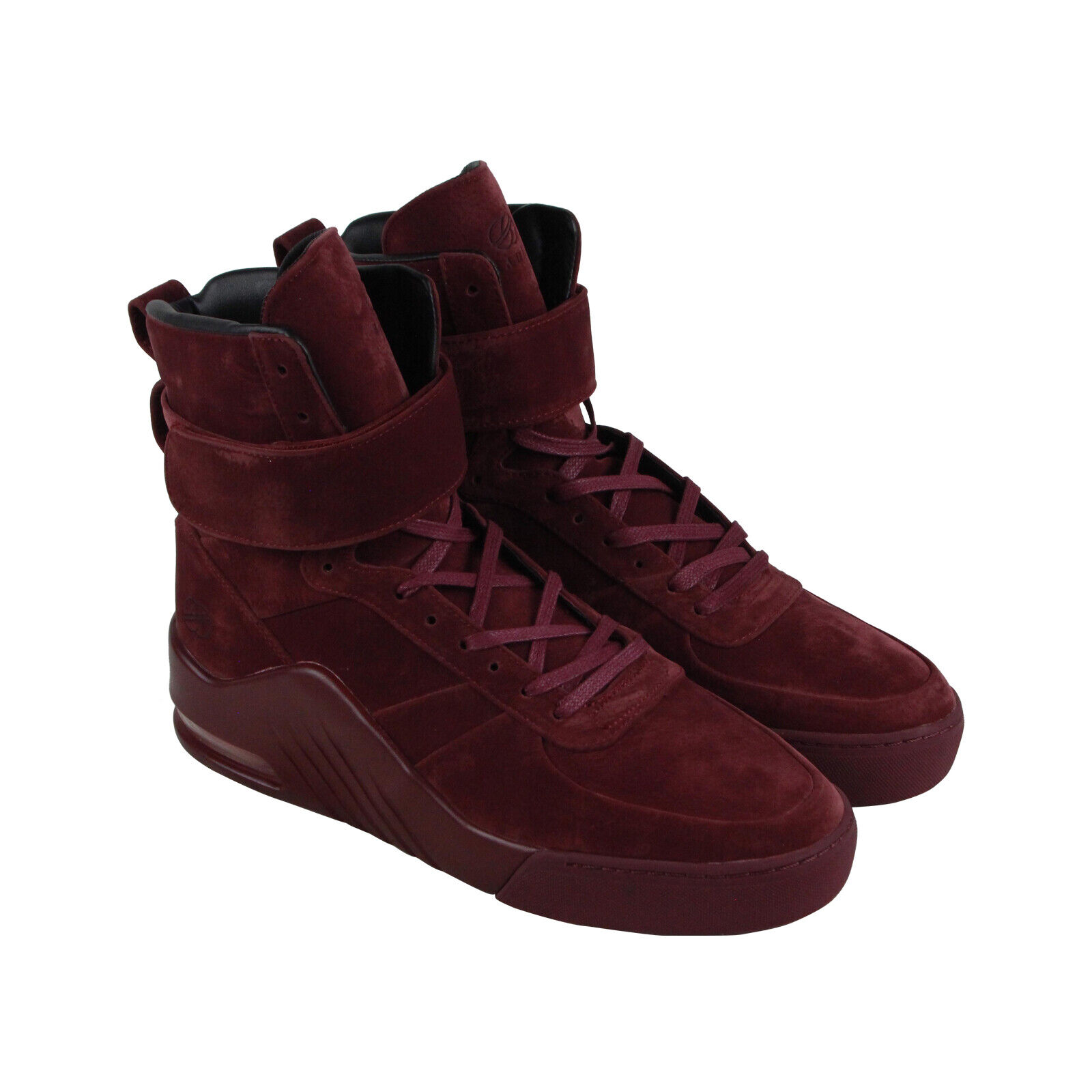 Radii Apex FM1098 Mens Red Suede Casual Lace Up High Top Sneakers Shoes