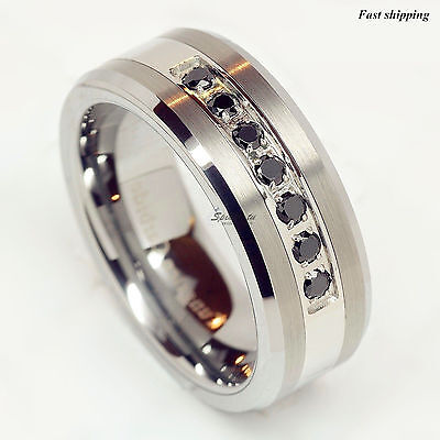 (luxury ATOP Tungsten Ring Black Diamonds Mens Wedding Band Brushed size 6-13)