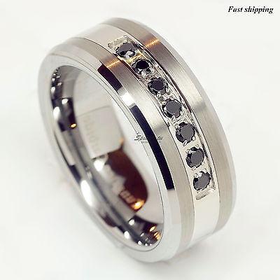 luxury tungsten ring black diamonds mens wedding
