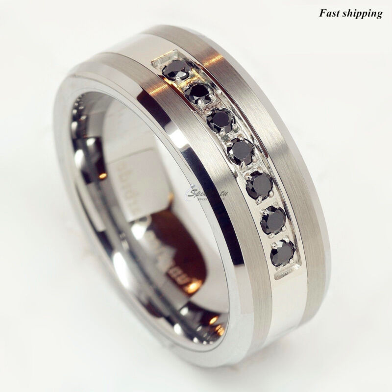 Luxury Atop Tungsten Ring Black Diamonds Mens Wedding Band Brushed
