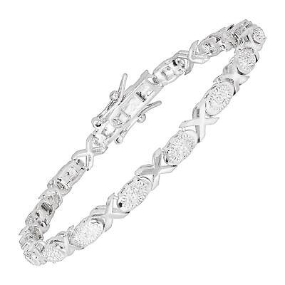 'XO' Tennis Bracelet with Diamonds in Rhodium-Plated Brass, 6.75