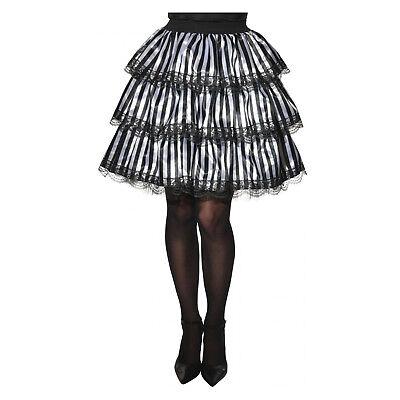 Womens Striped Black White Layered Ruffle Skirt Gothic Costume Victorian - Black And White Stripes Halloween Costumes